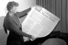 Eleanor Roosevelt reads the Universal Declaration of Human Rights, passed by the United Nations General Assembly on December 10, 1948.